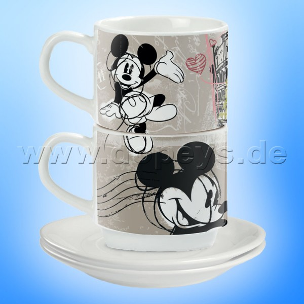 "Disney Espresso Tassen 2er Set Mickey Maus ""Rom"" stapelbar PWM02I/RO"