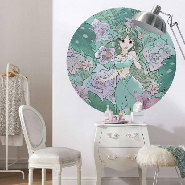"Disney Wandsticker / Wandaufkleber Aladdin ""Jasmin Elegant Mint"" rund 125cm x 125cm"