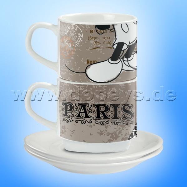 "Disney Espresso Tassen 2er Set Mickey Maus ""Paris"" stapelbar PWM02I/PA"