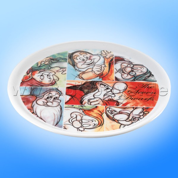 """Disney Servier-Tablett """"Sieben Zwerge"""", rund, im italienischen Design"""
