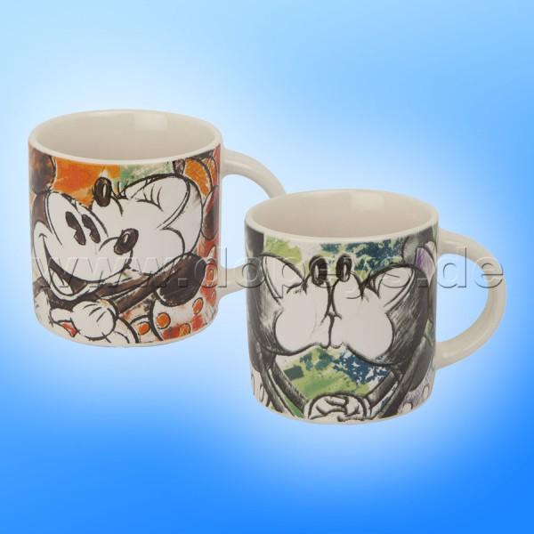 """Disney Mini Tassen / Espresso Tassen 2er Set """"Orange + Elfenbein"""" - Mickey & Minnie Color Fun, im italienischen Design PWMSETCF-3, 9cl"""