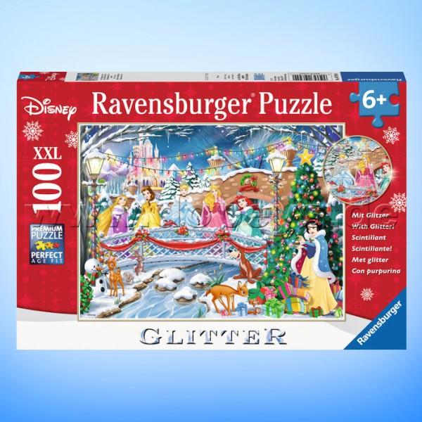 """Disney Glitzer-Puzzle """"Die Prinzessinnen feiern Weihnachten"""" von Ravensburger 10794"""
