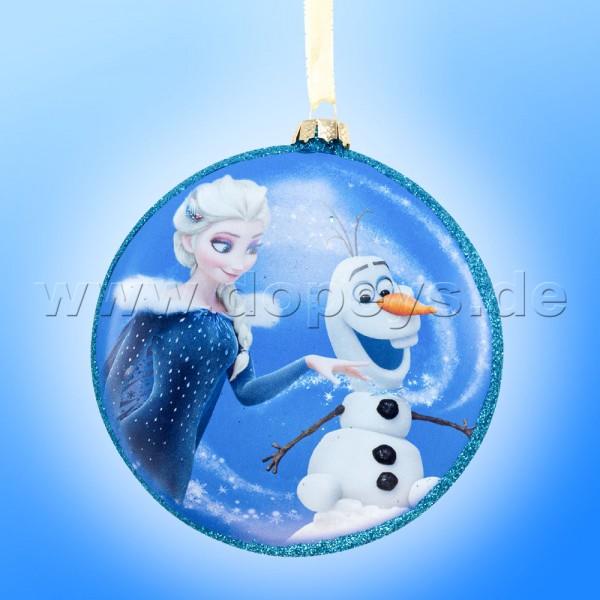 """Kurt S. Adler - Disney Die Eiskönigin """"Elsa & Olaf"""" Glas Disk Weihnachtsbaumkugel in Diskusform / Glasornament in Blau DN03004-E"""