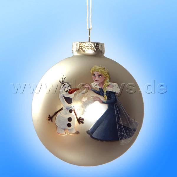 """Kurt S. Adler - Disney Die Eiskönigin """"Olaf & Elsa's Eiszauber"""" Weihnachtsbaumkugel / Glaskugel in Silber DN03005-F"""