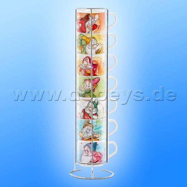 """Disney Espresso Tassen 7er Set """"Die sieben Zwerge"""" italienisches Design"""