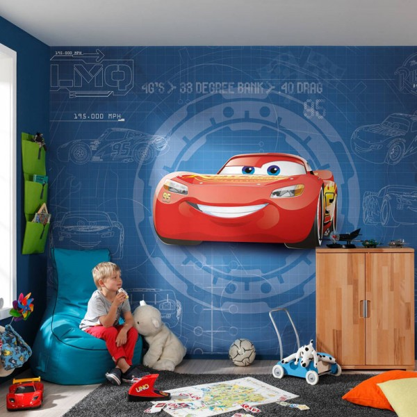 "Disney Fototapete ""Cars 3 Blueprint"" 3,69m x 2,54m"