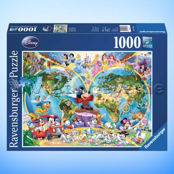 """Disney Puzzle """"Disney's Weltkarte"""" von Ravensburger 15785"""