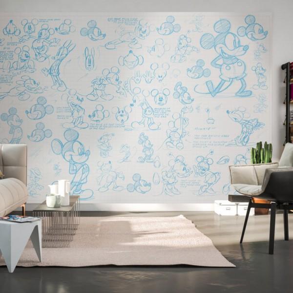"Disney Vlies Fototapete Mickey Maus ""Mickey Sketches"" 4,00m x 2,50m"