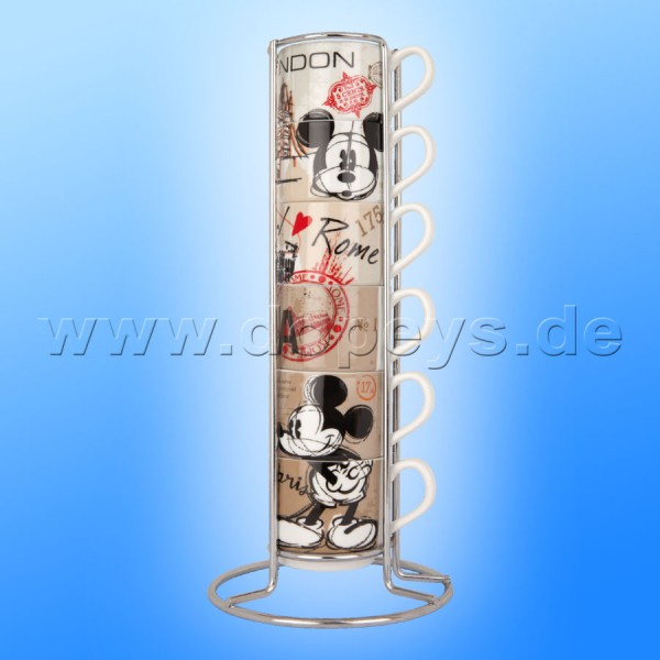 Disney Espresso Tassen 6er Set Mickey & Minnie stapelbar + Metallgestell Coffee In The City im italienischen Design