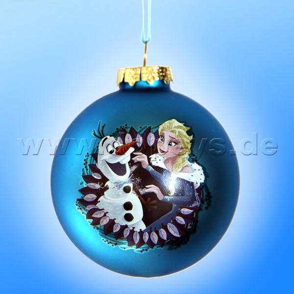"""Kurt S. Adler - Disney Die Eiskönigin """"Olaf & Elsa"""" Weihnachtsbaumkugel / Glaskugel in Blau DN03005-C"""