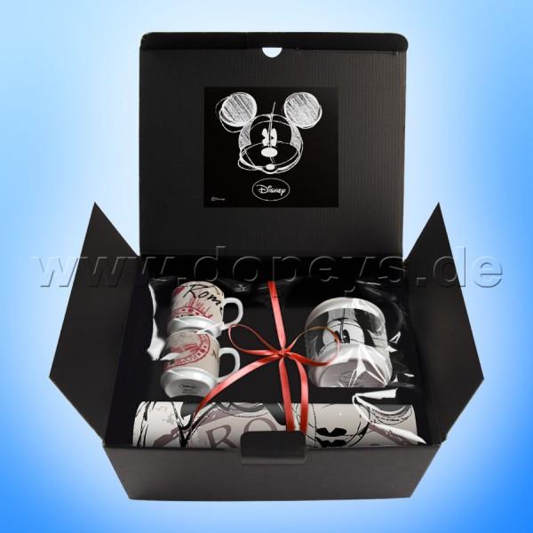 """Disney Geschenkset 2 Espressotassen, Zuckerdose & Platzdeckchen Mickey Maus """"Rom"""" im italienischen Design"""