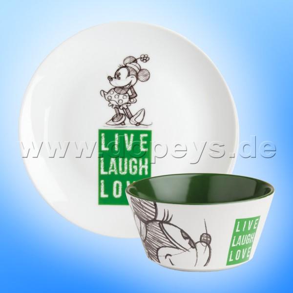 """Disney Geschenkset Minnie Frühstücksteller / Dessert-Teller + Müslischale """"Grün"""" Live Laugh Love PWMSETLL/5"""