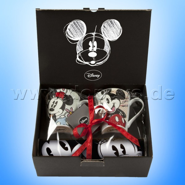 Disney Geschenkset 2 Kaffeetassen + Einkaufstasche Mickey & Minnie vintage im italienischen Design