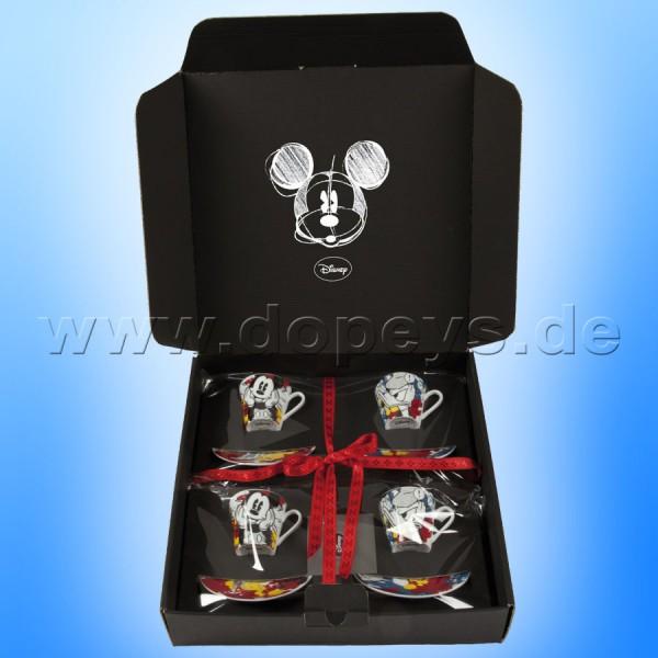 Disney Geschenkset 2 Mickey Espressotassen + 2 Donsald Espressotassen mit Teller im italienischen Design