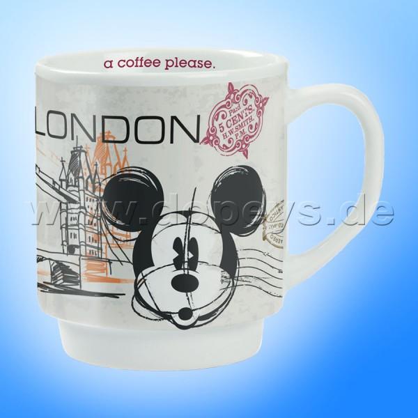 "Disney Kaffeetasse Mickey Maus ""London"" stapelbar im italienischen Design"