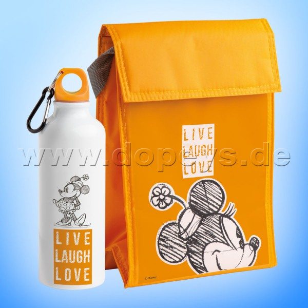 """Disney Geschenkset Mickey Trinkflasche + Kühltasche """"Orange"""" Live Laugh Love PWMSETLL/7"""