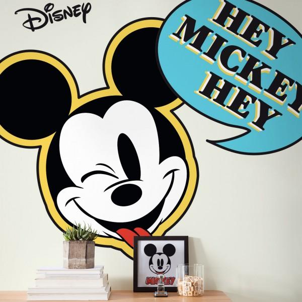 "Disney Vlies Fototapete selbstklebend Mickey Maus ""Mickey Hey XXL"" 127cm x 200cm"