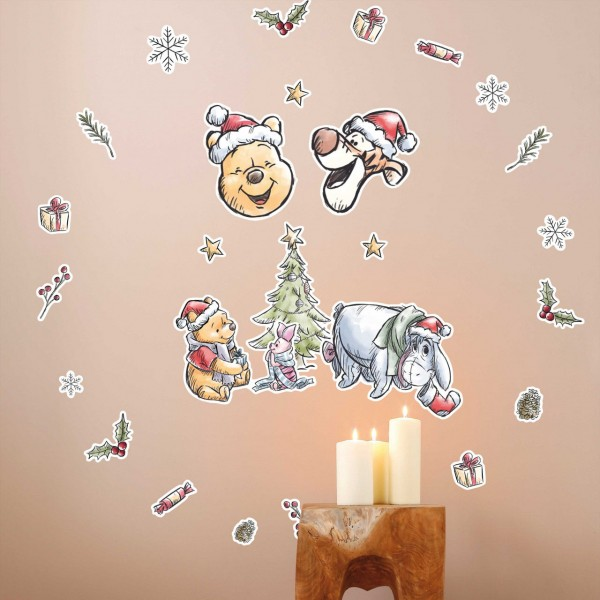 "Disney Wandsticker / Wandaufkleber Winnie Puuh ""Winnie Pooh Christmas"" 50cm x 70cm"