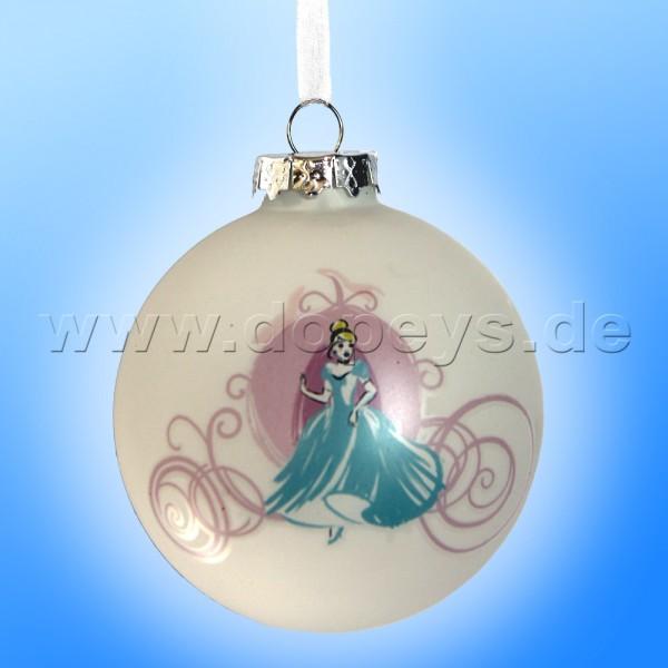 """Kurt S. Adler - Disney Prinzessin """"Cinderella mit Kutsche"""" Weihnachtsbaumkugel / Glaskugel in Weiß DN01004-B"""