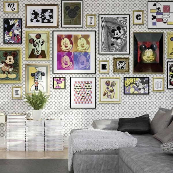 "Disney Vlies Fototapete Mickey Maus Kunstgallerie ""Mickey Art Collection"" 4,00m x 2,50m"