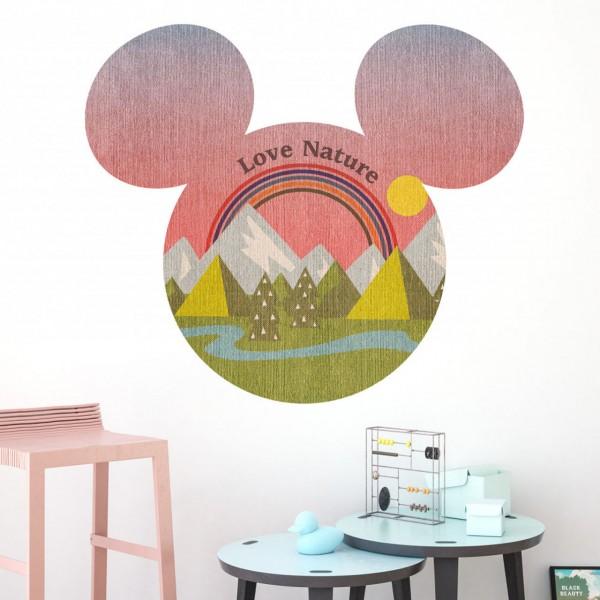 "Disney Wandsticker / Wandaufkleber Mickey Maus Kopf ""Mickey Head Summer Hike"" 127cm x 127cm"