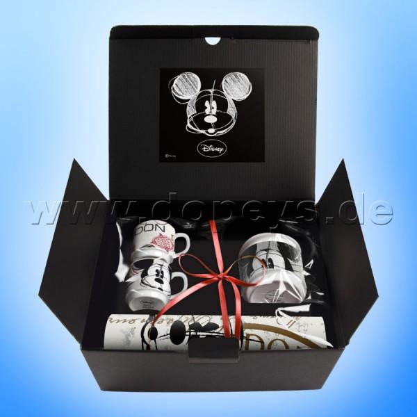 """Disney Geschenkset 2 Espressotassen, Zuckerdose & Platzdeckchen Mickey Maus """"London"""" im italienischen Design"""