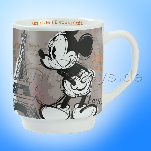 "Disney Kaffeetasse Mickey Maus ""Paris"" stapelbar im italienischen Design"