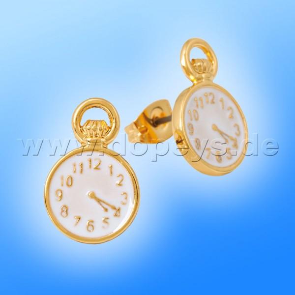 Disney Ohrstecker - Taschenuhr (Alice im Wunderland) in Gold von Couture Kingdom 12100301