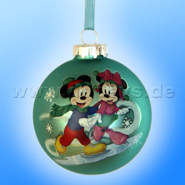 """Kurt S. Adler - Disney """"Mickey & Minnie laufen Schlittschuh"""" Weihnachtsbaumkugel / Glaskugel in Türkis DN02005-A"""