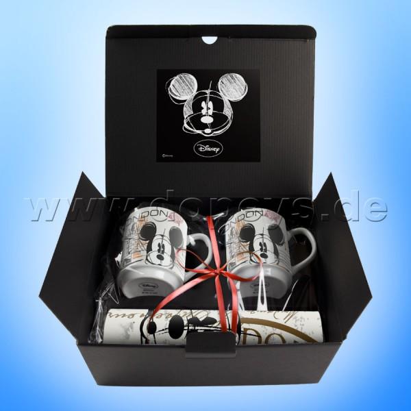 """Disney Geschenkset 2 Kaffeetassen + 2 Platzdeckchen Mickey Maus """"London"""" im italienischen Design"""