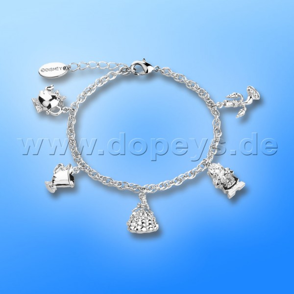 Disney Armband - Charm (Die Schöne und das Biest) in Weißgold von Couture Kingdom 12100431