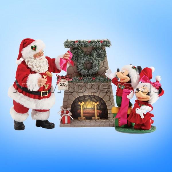 "Disney Possible Dreams von Enesco ""Mickey & Minnie am Kamin, beleuchtet"" Santa Hang the Perfect Wreath 6003418"