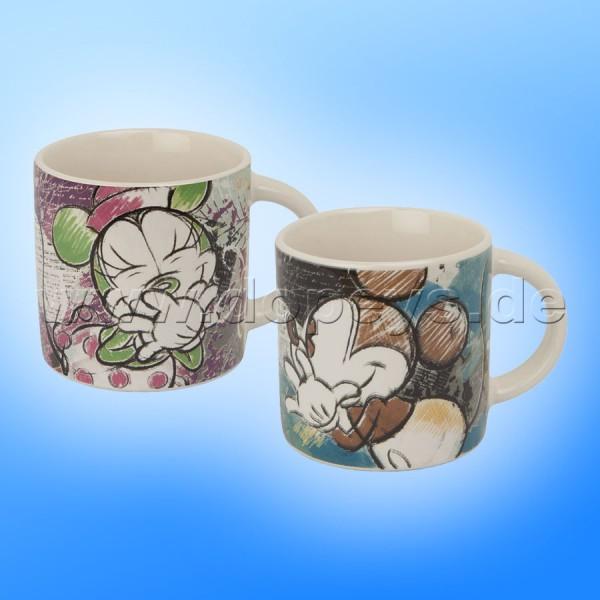 """Disney Mini Tassen / Espresso Tassen 2er Set """"Türkis + Violett"""" - Mickey & Minnie Color Fun, im italienischen Design PWMSETCF-2, 9cl"""