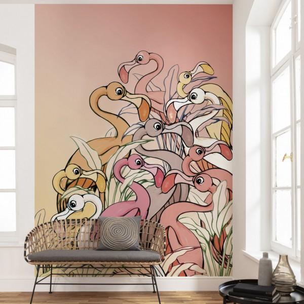 """Disney Vlies Fototapete Der König der Löwen """"Flamingos and Lillys"""" 2,00m x 2,80m"""