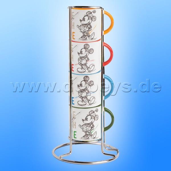 Disney Espresso Tassen 4er Set Mickey & Minnie stapelbar + Metallgestell Live Laugh Love PWM02I/4LL