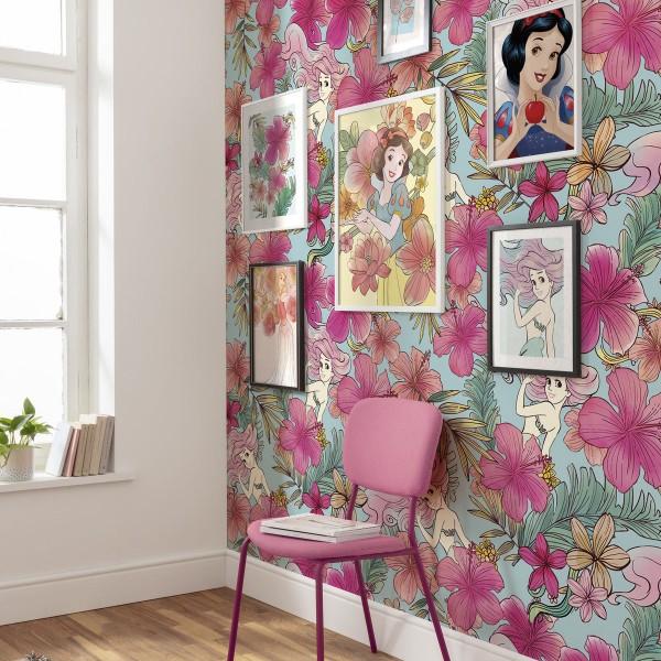 """Disney Vlies Fototapete Arielle, die Meerjungfrau """"Ariel - Pink Flower"""""""