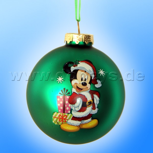 """Kurt S. Adler - Disney """"Mickey als Weihnachtsmann"""" Weihnachtsbaumkugel / Glaskugel in Grün DN02005-C"""