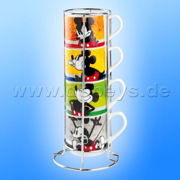 """Disney Mini Tassen / Espresso Tassen """"Mickey I Am"""" stapelbar 4er Set + Metallgestell, im italienischen Design PWM02I-4AM, 35cl"""