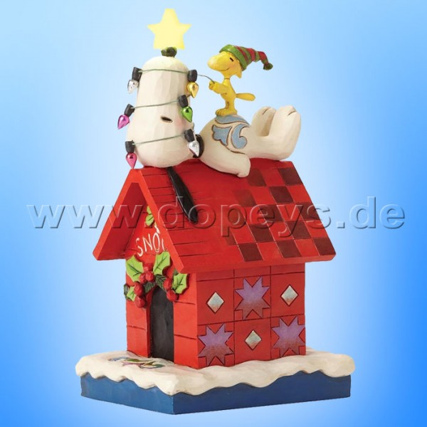 "Peanuts / Jim Shore Figur von Enesco ""Merry And Bright (Snoopy und Woodstock)"" 4052719."