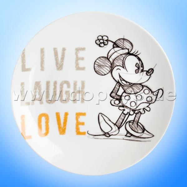 """Disney Teller / Servierteller / Kuchenplatte Minnie Maus """"Orange"""" Live Laugh Love im italienischen Design PWM37LL-5A"""
