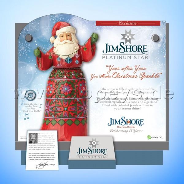 Jim Shore Heartwood Creek - Platinum Santa 15 Jahre Jubiläumsfigur mit Musik 4059002 LIMITIERTE AUSGABE