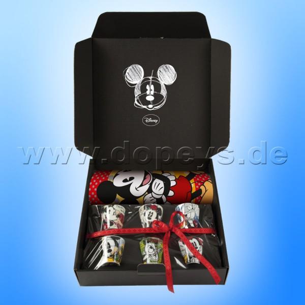 Disney Geschenkset 6 Espressotassen/Becher + Platzdeckchen Mickey & Minnie Maus Classic im italienischen Design WMSET/25