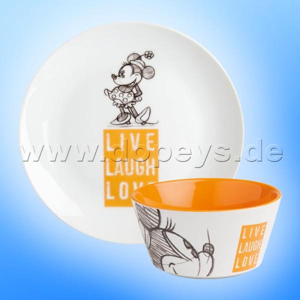 """Disney Geschenkset Minnie Frühstücksteller / Dessert-Teller + Müslischale """"Orange"""" Live Laugh Love PWMSETLL/4"""