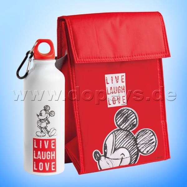 """Disney Geschenkset Mickey Trinkflasche + Kühltasche """"Rot"""" Live Laugh Love PWMSETLL/6"""