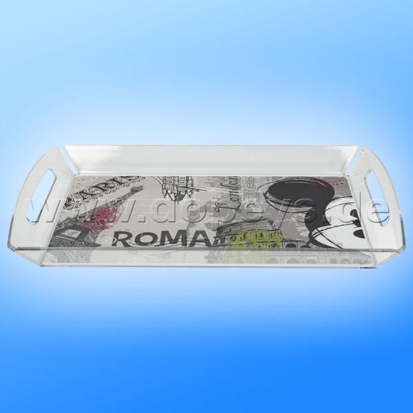 """Disney Plexiglas Tablett Mickey Maus """"Rom"""" im italienischen Design"""