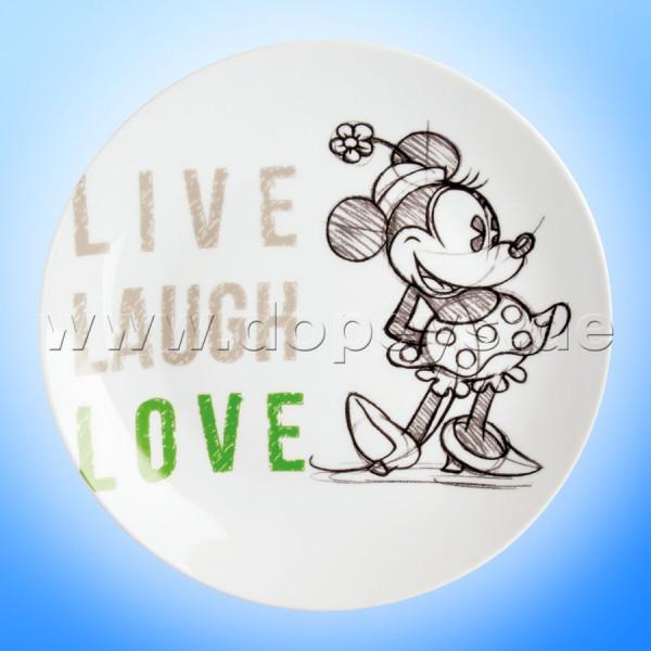 """Disney Teller / Servierteller / Kuchenplatte Minnie Maus """"Grün"""" Live Laugh Love im italienischen Design PWM37LL-5V"""
