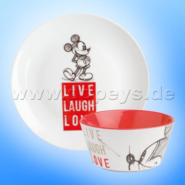 """Disney Geschenkset Mickey Frühstücksteller / Dessert-Teller + Müslischale """"Rot"""" Live Laugh Love PWMSETLL/2"""