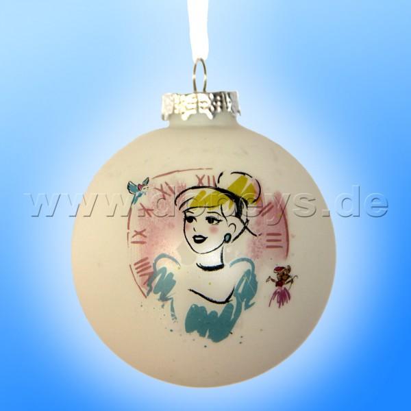 """Kurt S. Adler - Disney Prinzessin """"Cinderella mit Uhr"""" Weihnachtsbaumkugel / Glaskugel in Weiß DN01004-A"""