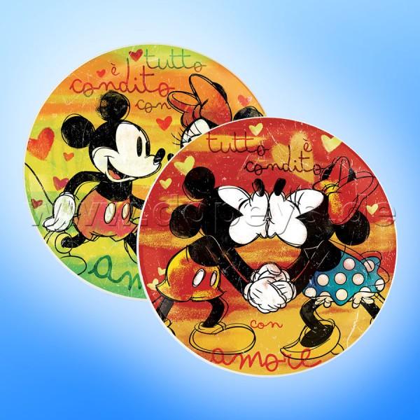 """Disney Pizzateller Mickey & Minnie """"Rot + Grün"""" 2 Stück im Set im italienischen Design"""
