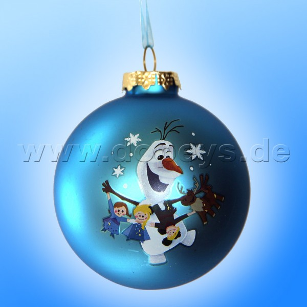 """Kurt S. Adler - Disney Die Eiskönigin """"Olaf mit Frozen Girlande"""" Weihnachtsbaumkugel / Glaskugel in Blau DN03005-D"""